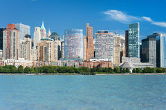 Great view of the New York from Hudson river Royalty Free Stock Photography