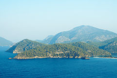 Great view of the Oludeniz, Turkey, Mediterranean Sea. The magnificent seascape of the Mediterranean Sea. The sea on a background of big mountains Royalty Free Stock Photo