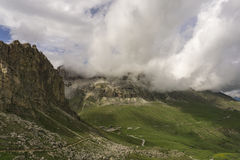Great view of Passo Pordoi. Dolomites. Italy. Royalty Free Stock Images