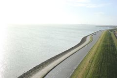 Great view from Plompe Toren in Koudekerke near the coast of the North Sea in the Netherlands.  royalty free stock images