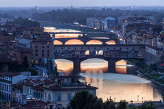Great View of Ponte Vecchio at night. Firenze, Italy Royalty Free Stock Photos