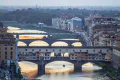Great View of Ponte Vecchio at sunset, Firenze, Italy Royalty Free Stock Photo