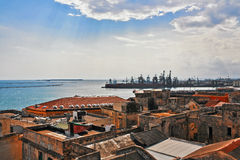 Great view on sea, old town Royalty Free Stock Images
