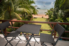 Great view from terace to the tropila beach garden. In Thailands Koh Chang stock photo