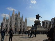 A great view to the Duomo of Milan in Winter stock photos