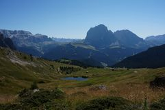 Great view to sella and langkofel group from alp stock photo