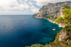 Great view of Tyrrhenian sea and Marina Piccola at Capri Stock Photo
