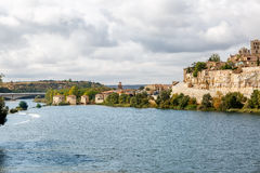 Great view of the wall of Zamora and the Duero river, Spain Royalty Free Stock Images