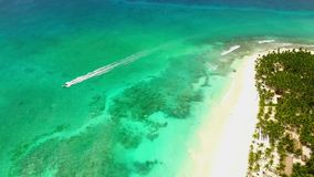 Great view on the white beach huge forest and a motor boat in the ocean stock video footage