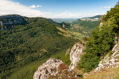 Great views along steep mountain slopes deep valleys, gorges and Stock Image