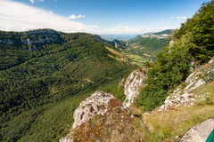 Great views along steep mountain slopes deep valleys, gorges and Stock Photo