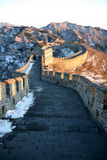 Great Wall. And mountain covered with snow Stock Image
