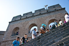The Great Wall. Full of tourists in 1st Oct 2012 Royalty Free Stock Photo