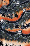 The Great Wall. Colorful fabric showing the Great Wall of China stock photos