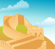 Great Wall. The great wall of China, with blue sky backdrop stock illustration