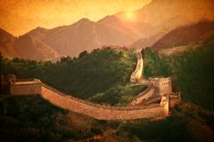 Great Wall of China.Vintage styled design in warm golden sun. Like handpainted old postcards. Great Wall of ancient China.Vintage styled design in warm golden stock photography