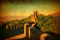 Great Wall of China. Vintage styled design in warm golden sun. Like handpainted old postcards. Great Wall of ancient China. Vintage styled design in warm golden vector illustration