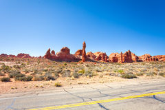 The great wall and Arches Scenic Drive road. USA during summer time Royalty Free Stock Image