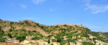 Great wall around Amber fort Jaipur, Rajasthan Royalty Free Stock Images