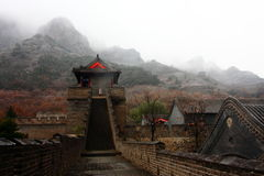 Great wall autumn rainy Stock Photo