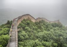 The Great Wall Badaling section with clouds and mist, Beijing, China Royalty Free Stock Photo