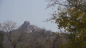 Great Wall battlements wall,China ancient architecture,fortress. stock footage