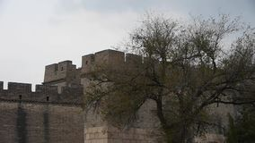 Great Wall battlements wall,China ancient architecture,fortress. stock video