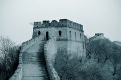 Great Wall in black and white stock image