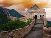 The Great Wall of China. Outside Beijing at sunset