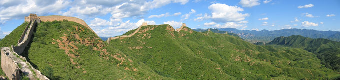 Great Wall of China. Large view of the Great Wall of China ond the mountains - China - Panorama Stock Photos