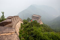 The Great Wall of China. In the fog. Tourist Route Stock Images