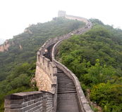 The Great Wall of China. In the fog. Tourist Route Stock Image