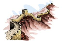 The Great Wall of China. Vector illustration of the Great wall of China against abstract background stock illustration