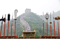 The Great Wall of China. The picture is about the Great Wall of China with traditional weapons stock photography