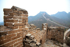 Great Wall of China. Damaged walls, showing the history of the Great Wall of China stock photo