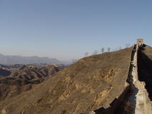 The Great Wall of China. Wall up the right, space for copy on left Royalty Free Stock Photos