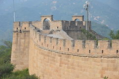 Great Wall of China. An acient tower next to modern security equipment makes this photo an excellent contrast between old and new China Stock Photography