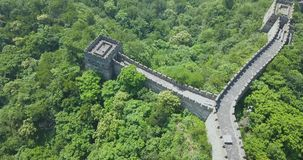 Great Wall of China, aerial footage, drone footage, Beijing. Great Wall of China close to the Beijing Airport. Truly marvelous view with plenty of trees. This is stock footage