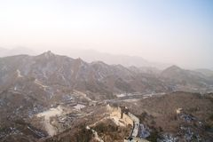 The Great Wall of China Along A Mountain Range Outside of Beijing Royalty Free Stock Image