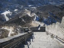 Great Wall of China at Badaling. A view looking down from the highest point of the Badaling section of the Great Wall of China Stock Image