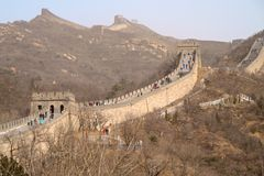 The Great Wall of China With Barren Trees In The Foreground Royalty Free Stock Photos