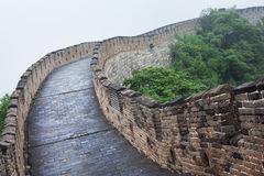 Great Wall of China in Beijing. Foot pathway along Great Wall of China in Beijing during a rainy summer day Stock Images