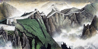 The great Wall of China. The great Chinese wall painted in Chinese style Stock Photography