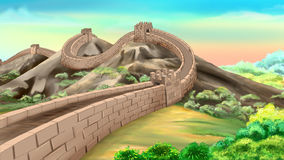 Great Wall of China. Digital painting of the Great Wall of China - one of the wonders of the world Stock Images