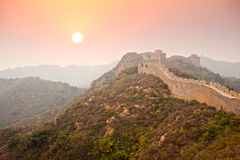 Great Wall of China fall morning Royalty Free Stock Image