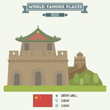 Great Wall, China. Great Wall. Famous Places of China royalty free illustration