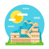 Great wall of China flat design Stock Images