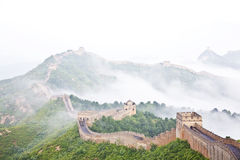 Great wall of China in fog royalty free stock photography