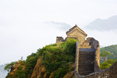 Great wall of China in fog royalty free stock image