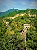 Great Wall in China, forest, environment and the sky. Great Wall in China, forest, woods, nature, trees, environment, sky, landscape and view. Touristic location royalty free stock photos